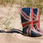 British Wellington boots on the beach