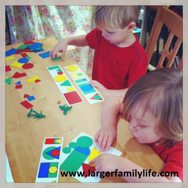 Ollie and Joseph shapes - home educating with younger children