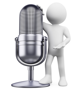 3D white people. Vintage microphone