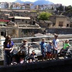 Discussing volcanoes with Vesuvius as a backdrop, and learning about Romans whilst standing in their very own homes in Herculaneum