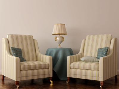 Two classic chair and table with lamp