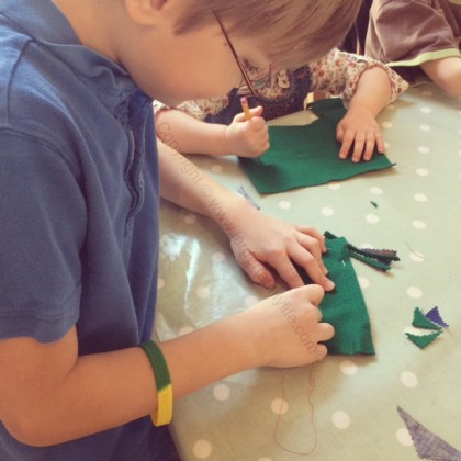 Eddie sewing