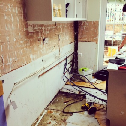 kitchen sink wall out
