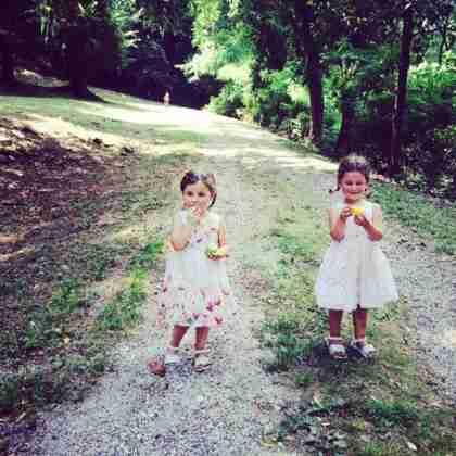 Anna and Libby on Villa Zadra driveway