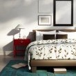 Elegant white luxury bedroom, contemporary design style blue rug