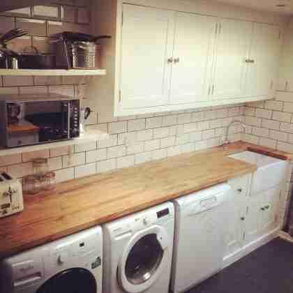 handmade kitchen sink side