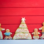 Happy funny gingerbread man family