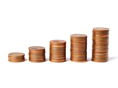 Five stacks of coins
