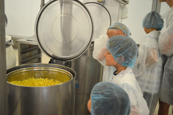 Fresh ingredients are cooked in very large containers