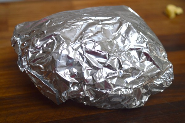 Wrap the foil around securely creating a sealed parcel