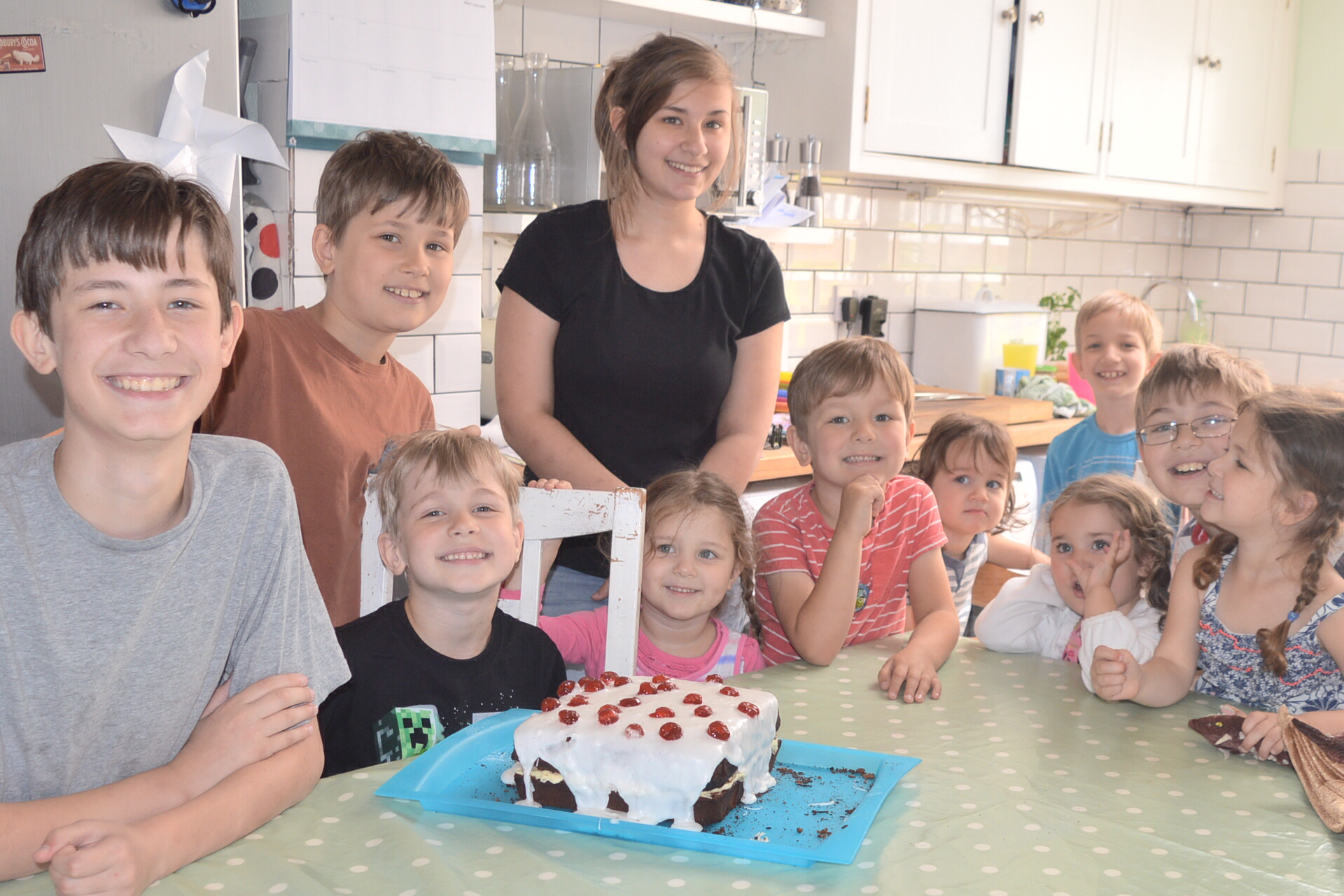 Oliver's 6th birthday with his Minecraft cake and siblings