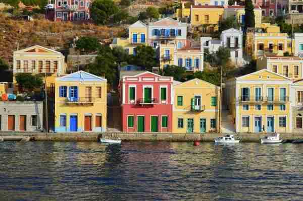 Symi pretty houses by harbour