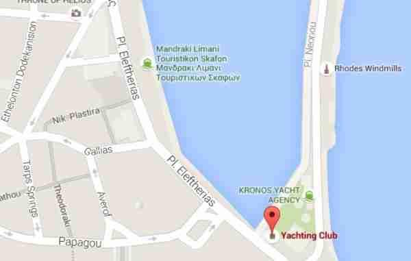 Yacht Club Cafe Rhodes Mandraki Harbour Map