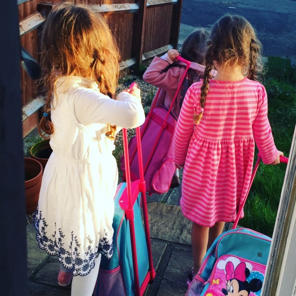 """The three youngest girls insisting they were leaving home in order to walk to Costa Rica from our home in Kent, England to find their real family. Despite our efforts to reassure them that we are their real family, they maintain otherwise. I told my husband I couldn't believe they were really going. His reply: """"I can't believe you stopped them."""""""