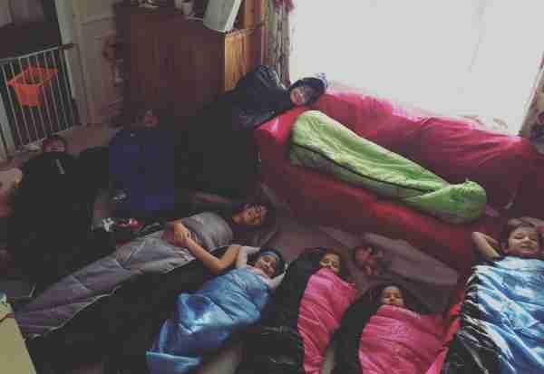 kids in sleeping bags