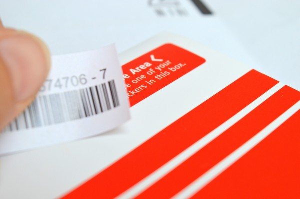Stick one barcode to the area shown on the swab envelope