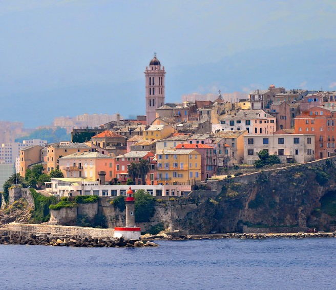 View of the seaside  city of  Bastia on Corsica