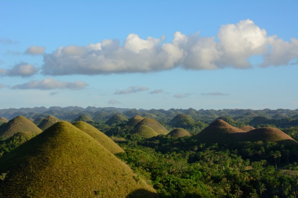 Chocolate hills on Bohol Island in Philippines