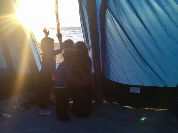 albania kamping pa emer kids watching sunset through vango rivendale