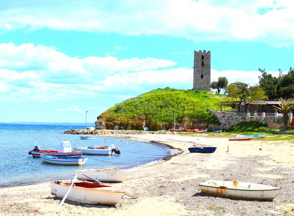 byzantine tower at nea fokea halkidiki