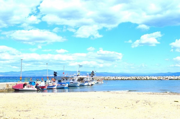 nea fokea port and fishing boats