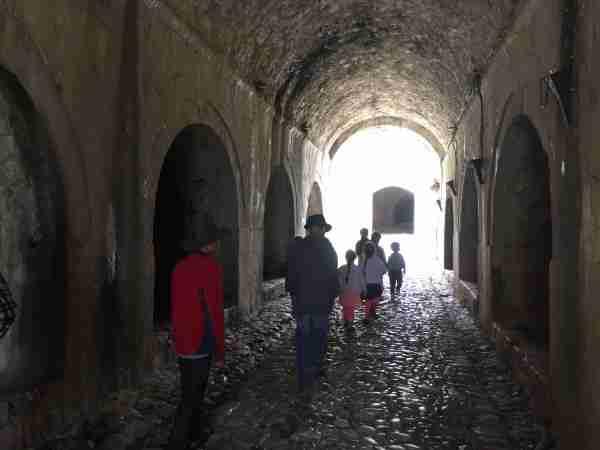 rozafa castle walking through tunnel