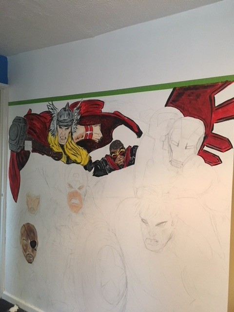 marvel hand painted wall mural marvel bedroom