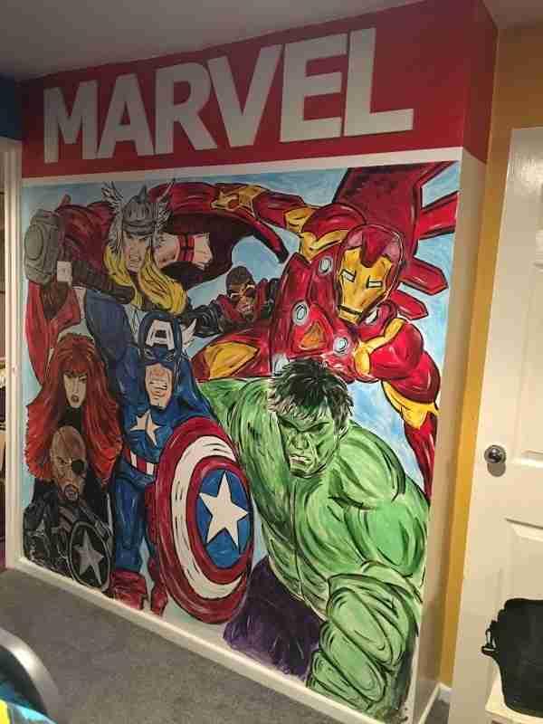 Marvel Mural handpainted Tania Sullivan marvel bedroom decoration