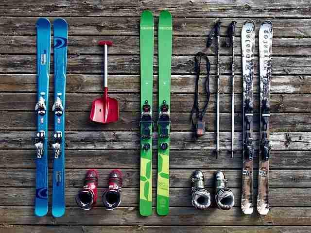 family skiing equipment